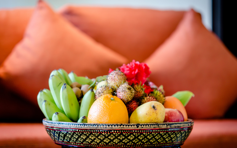 welcome basket with fresh fruits in Kep