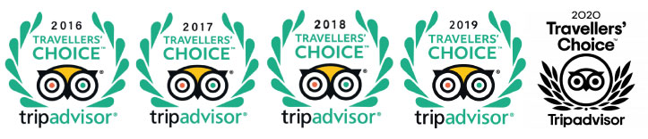 TripAdvisor Certificate of Excellent 2016-2020 Reviews